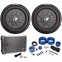 (2) Kicker 43CWRT101 COMPRT10 10 1600W Car Subwoofers+Mono Amplifier+Amp Kit