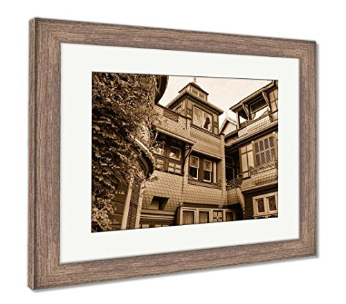 Ashley Framed Prints The Winchester Mystery House, Wall Art Home Decoration, Sepia, 34x40 (Frame Size), Rustic Barn Wood Frame, AG6534469