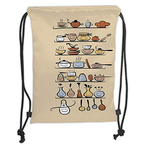 Custom Printed Drawstring Backpacks Bags,Kitchen Decor,Kitchenware and Utensils Appliances Ornaments Spice Rack Vintage Retro Style Design,Brown Cream Soft Satin,5 Liter Capacity,Adjustable Strin