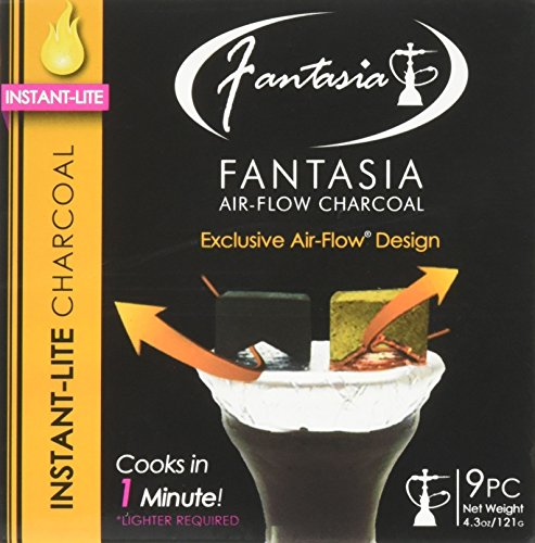Instant Charcoal - FANTASIA AIR FLOW INSTANT LITE CHARCOAL SUPPLIES FOR HOOKAHS–9pc box of Quick light shisha coals for hookah pipes. These Easy Lite coal accessories & parts can be instantly lit using torch lighters