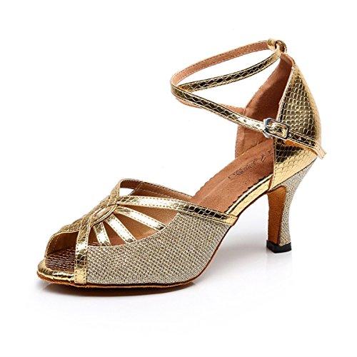 BYLE Sandalias de Cuero Tobillo Modern Jazz Samba Zapatos de Baile Zapatos de Baile Latino de Oro Tierra Blanda Onecolor