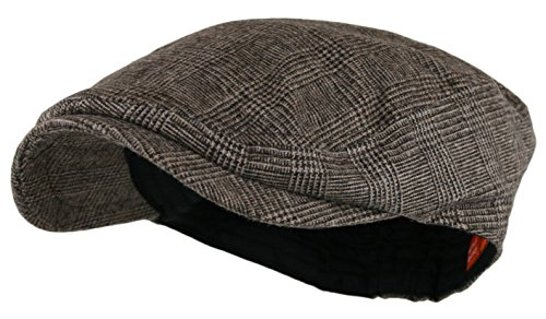 [Men's Herringbone Wool Tweed Newsboy Ivy Cabbie Driving Hat (One Size, LT.Brown)] (Mens Tweed Caps)