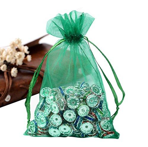 Green Organza Bags 4X6 - 6
