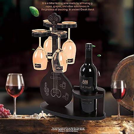 JJ Estante para Vino/Portavasos DecoracióN del Hogar Sala De Estar Escritorio Soporte De ExhibicióN De Vino De Madera SóLida - Puede Poner 1 Botella De Vino - 4 Copas De Vino Tinto