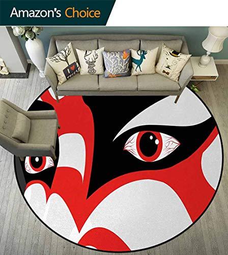 (Kabuki Mask Warm Soft Cotton Luxury Plush Baby Rugs,Japanese Drama Theme Kabuki Face With Dramatic Eyes Cultural Theater Kids Teepee Tent Game Play House Round Diameter-47 Inch,Black White Orange)