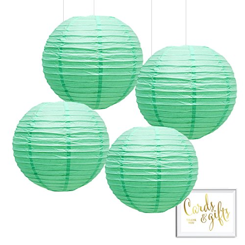 Andaz Press Hanging Paper Lantern Party Decor Kit with Free Party Sign, Mint Green, 4-Pack, For Spring Baby Bridal Shower Decorations