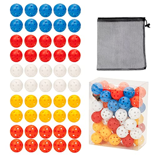 50 Packs Practice Golf Balls Limited Flight Golf Balls 40mm Hollow Plastic Golf Training Balls Colored Airflow Golf Balls for Swing Practice Driving Range Home Use Indoor (H01)
