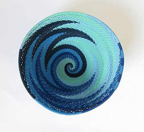 African Zulu woven telephone wire bowl – Small round - Blue