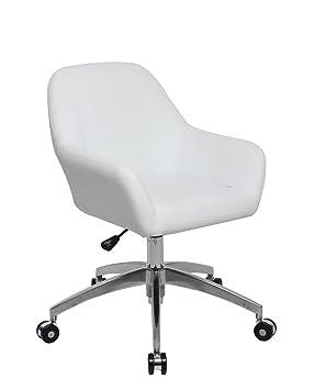 KAYELLES Chaise De Bureau Design CAPA Fauteuil Vintage Pietement Alu Poli Blanc