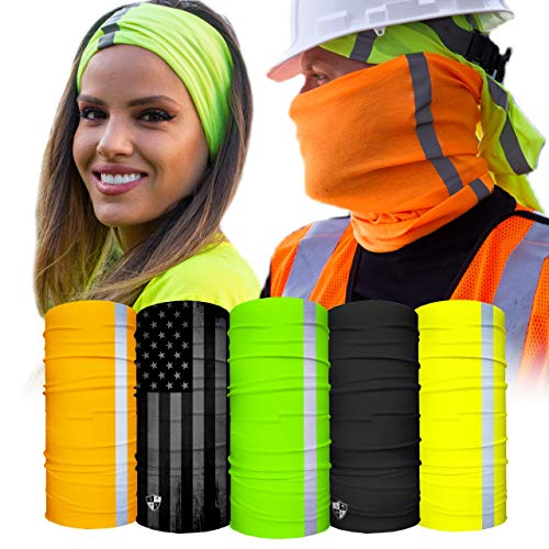 S A - UV Face Shield 5 Pack - Work Pack - Multipurpose Neck Gaiter, Balaclava, Elastic Face Mask for Men and Women