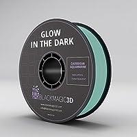 PLA Glow in the Dark, Caribbean Aquamarine (Light Blue) Filament, 3 mm by Black Magic 3D