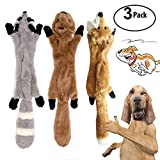 3 Pack Dog Squeaky Chew Toys No Stuffing Dog Toys Plush Animal Dog Toys for Small Medium Dog
