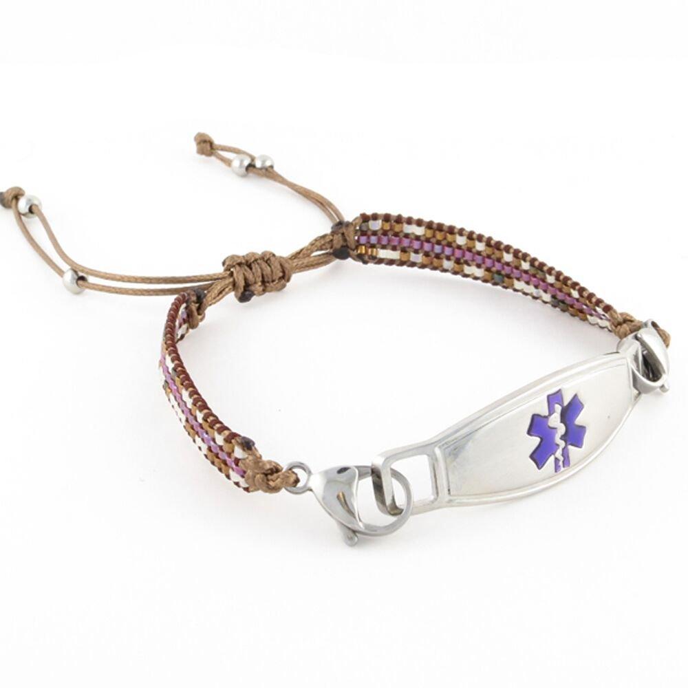 Free Engraving, Beaded Women s Medical Alert ID Bracelet – Adjustable Size – Cora – Purple