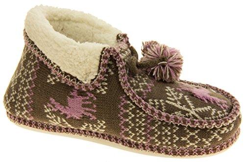 Coolers de invierno para mujer Faux Fur alineados botas de deslizamiento Fairisle Marrón