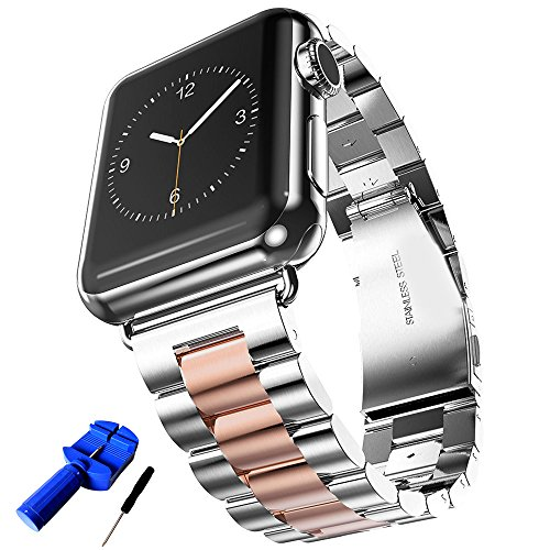 HUANLONG Solid Stainless Steel Metal Replacement 3 Pointers Watchband Bracelet with Double Button Folding Clasp Compatible with Apple Watch Iwatch Series 1/2/3/4(Silver/Rosegold 42mm)