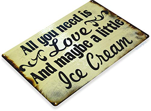Tinworld TIN Sign Love & Ice Cream Metal Decor Wall Art Kitchen Candy Store A109 (Antique Ice Cream)