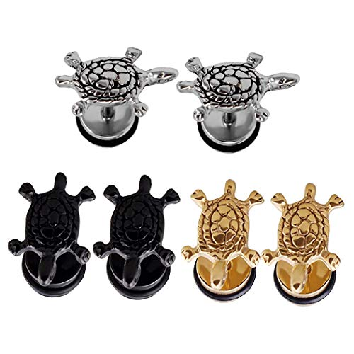 Ineffable Stainless Steel Sea Turtle Earrings Studs Women Tiny Ear Studs Black/Silver/Gold Color (3pairs)