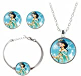 Disney's Princesses Glass Domed Pendant Necklace, Earring, Braclet Jewelry Set (Jasmine)