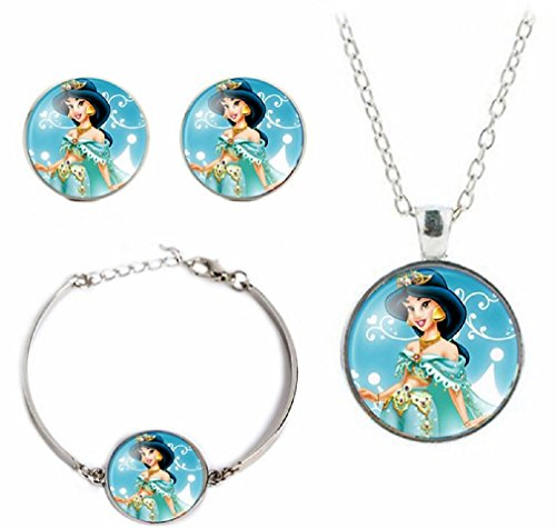 Disney's Princesses Glass Domed Pendant Necklace, Earring, Braclet Jewelry Set (Jasmine) ()