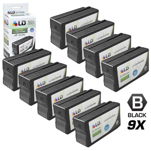 LD Remanufactured Replacement for Hewlett Packard (HP) 950 Ink Cartridges Set of 9 Black CN049AN for use in OfficeJet Pro 251dw - 276w MFP - 8100 - 8600 - 8600 Plus & 8600 Premium Printers