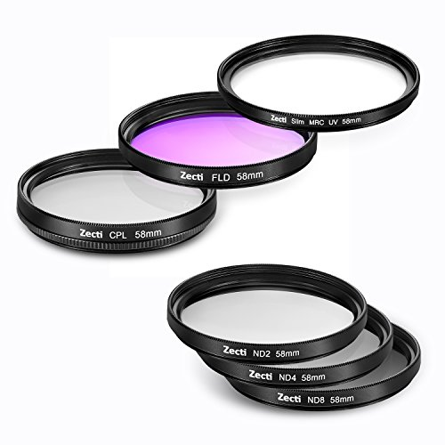 Zecti 58mm Camera Filter Kit (6 Piece) UV CPL FLD ND2 ND4 ND8 with Microfiber Cleaning Cloth