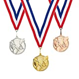 gymnastics gold medal - 3-Piece Award Medals Set - Metal Olympic Style Gymnastics Gold, Silver, Bronze Medals for Sports, Games, Competitions, Party Favors, 2.4 Inches in Diameter with 33-Inch Ribbon