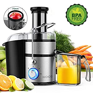 KOIOS Centrifugal Juicer Machines, Juice Extractor with Big Mouth 3″ Feed Chute, 304 Stainless-steel Filter, High Juice yield, Easy to Clean&100% BPA-Free, 1200W&Powerful, Dishwasher Safe, Included Brush