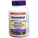 Webber Naturals Resveratrol with Grape Seed Extract Caplet, 200/25mg