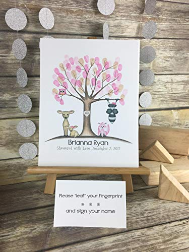 Customizable woodland animal fingerprint tree guestbook for a girl's woodland animal themed baby shower, featuring a pink owl, doe, fawn, raccoon and pink -