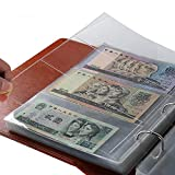 Baost 1Book/10Pcs 3-Pocket Clear Paper Money Currency Bill Holder Stamp Coin Collector Loose Leaf Sheet Collecting Album Page Banknote Collecting Holder Sleeves Random