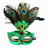 Women's Halloween Costume Venetian Masquerade Carnival Mask Mardi Gras Costume with Feather Flowers Cosplay Party Accessory