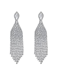 BriLove Women's Wedding Bridal CZ Crystal Beaded Tassel Fringe Chandelier Dangle Earrings