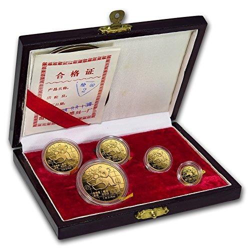 CN 1989 China 5-Coin Gold Panda Proof Set (w/Box & COA) Brilliant Uncirculated