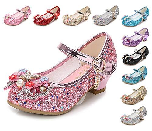 Kinkie Little Girls Ballet Mary Jane Flats Sparkle Bowknot Ballerina Wedding Party Princess Dress Shoes Pink-1 13 M US Little Kid