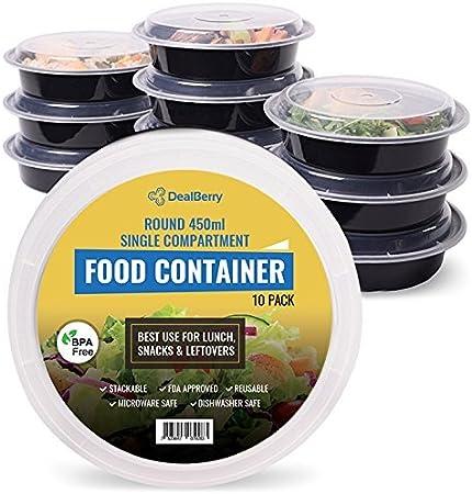 Pack de 10 fiambreras redondas sin BPA, sin olor, para comida saludable, apilable, para microondas, para almacenamiento de alimentos, plástico, transparente, 450 ml: Amazon.es: Hogar