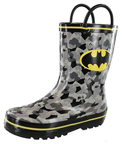 DC Comics Batman Boys' Rainboot Black/Grey/Yellow (Toddler/Little (Children Black Superhero Boot)