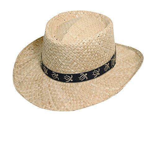 (SCALA Organic Raffia Gambler Turtle Tape Hat (L/XL, Black))