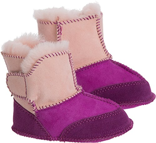 Sheepskin Baby Booties (Overland Sheepskin Co. Two-Tone Australian Sheepskin Baby Slipper Booties, Orchid/Pink, Size XL1824)