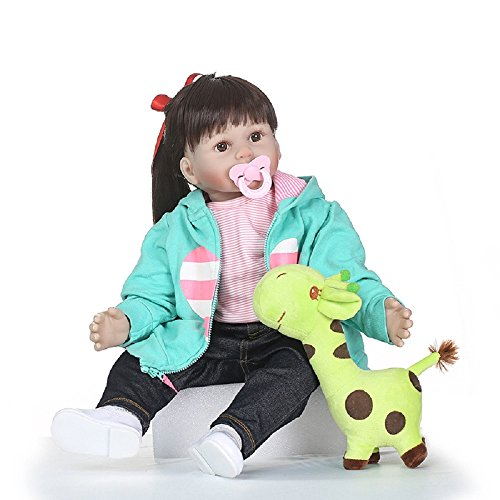 NPKDOLL Lovely Rebron Doll 24inch 60cm Soft Simulation Silicone Boy Girl Baby Ragdoll for Children Green Giraffe Lovely Doll a298