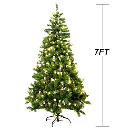 7FT fireproofing Premium Hinged Artificial Christmas Tree W/865 Tips Full Tree (Trees Christmas Full)