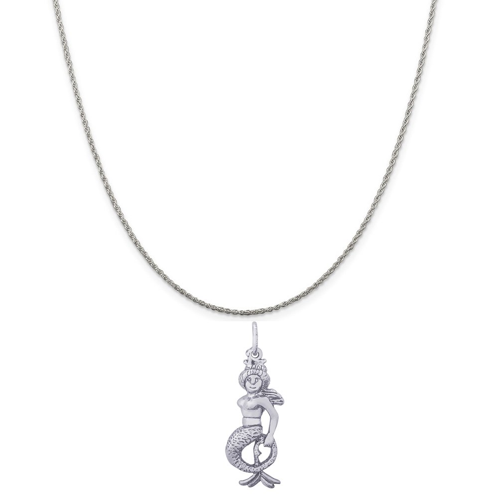 Rembrandt Charms Sterling Silver Mermaid Charm on a 16 Box or Curb Chain Necklace 18 or 20 inch Rope