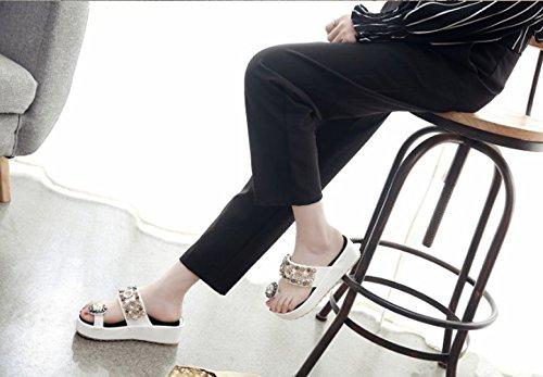 con blanco Transpirable Zapatillas de 35 Moda Pellizco correspondencia espesor Flops Ajunr Sandalias La 6cm suelas Toda elegante pendiente La con Flip 39 de qwXE1xRH