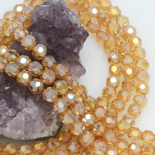 Crystal Chinese Glass Beads Round (72 Pcs Chinese Crystal Glass Loose Beads Faceted Round 8mm Loose Spacer Champagne Quartz AB)