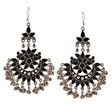 Bollywood Style Traditional Indian Jewelry Oxidized Silver Afghani Tribal Dangler Chandbali Earrings for Women