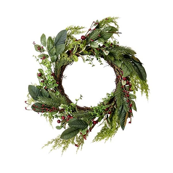 Artificial Red Berry Fern Wreath – Great Front Door and Wall Winter Christmas Decoration – 24 Inches