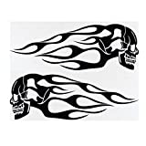 CoCocina 2pcs 13.5x5inch Universal Motorcycle Gas Tank Flames Skull Badge Decal Sticker - Black