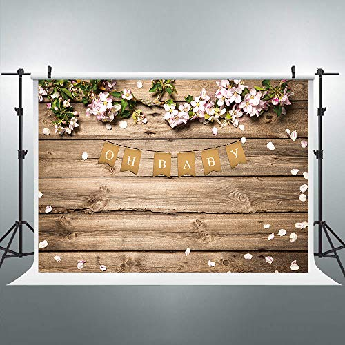 Riyidecor Baby Shower Backdrop Wooden Texture Board Photography