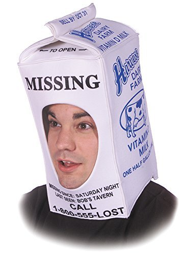 UHC Adults Funny Comical Theme Party Milk Carton Person Missing Costume Hat]()