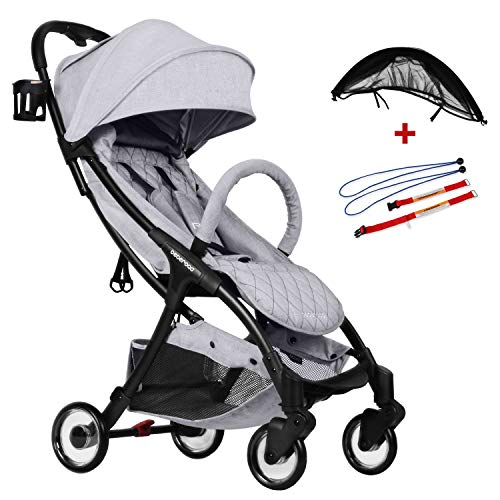 Compact Stroller 2020 Ultra Lightweight Baby Stroller + Universal Mosquito Net + Universal Car Seat Adapter Light Grey & Black