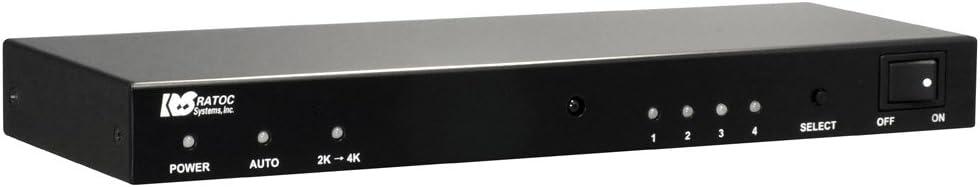 ラトックシステム 4K60Hz/HDCP2.2対応 4入力1出力 HDMI切替器 REX-HDSW41-4K